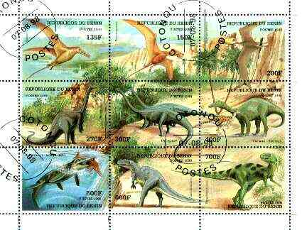 Benin 1998 Dinosaurs perf composite sheet containing set of 9 values very fine cto used