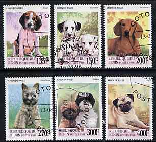 Benin 1998 Dogs complete perf set of 6 values very fine cto used*