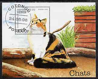 Benin 1998 Domestic Cats perf m/sheet very fine cto used