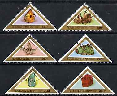 Benin 1998 Minerals complete perf set of 6 triangulars very fine cto used*