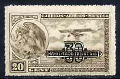 Mexico 1932 Surcharged 30c on 20c sepia (Farman F.190) upr wmk, unmounted mint SG 521*