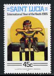 St Lucia 1985 Motorcyclist 45c from International Youth Year set, SG 842 unmounted mint*