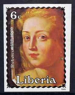 Liberia 1985 Paintings by Rubens 6c (Mirror of Venus) imperf pair from limited printing, unmounted mint SG 1612var*