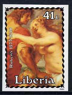 Liberia 1985 Paintings by Rubens 41c (Venus & Adonis) imperf pair from limited printing, unmounted mint SG 1616var*