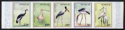 Senegal 1996 Birds complete set of 5 in superb unmounted mint imperf se-tenant strip from limited printing, stamps on birds