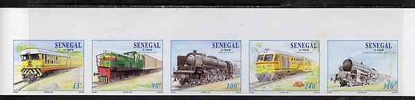 Senegal 1997 Locomotives complete set of 5 in superb unmounted mint imperf se-tenant strip from limited printing, stamps on railways