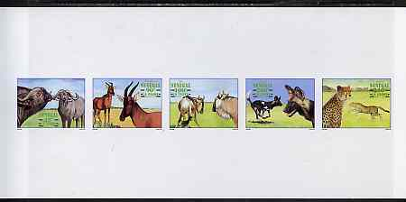 Senegal 1997 Animals complete set of 5 (Se-tenant strip) deluxe sheet on thin card