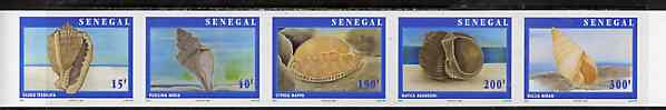 Senegal 1997 Shells complete set of 5 in superb unmounted mint imperf se-tenant strip from limited printing (Complete sheets containing 25 stamps (5 sets) available at normal x 4)