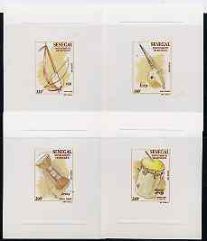 Senegal 1997 Musical Instruments complete set of 4 in deluxe sheets on sunken glossy card