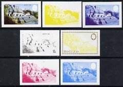 Belize 1983 Maya Monuments 10c (Altun Ha) x 7 imperf progressive proofs comprising the 4 main individual colours, plus 3 combination composites unmounted mint, as SG 747