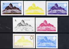 Belize 1983 Maya Monuments 15c (Xunantunich) x 7 imperf progressive proofs comprising the 4 main individual colours, plus 3 combination composites unmounted mint, as SG 747