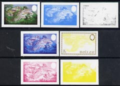 Belize 1983 Maya Monuments 75c (Cerros) x 7 imperf progressive proofs comprising the 4 main individual colours, plus 3 combination composites unmounted mint, as SG 747