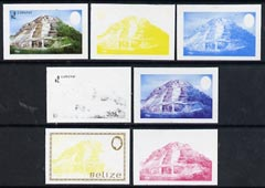 Belize 1983 Maya Monuments $2 (Lamanai) x 7 imperf progressive proofs comprising the 4 main individual colours, plus 3 combination composites unmounted mint as SG 747
