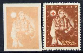 Croatia 1942 Red Cross Fund imperf proof of 1k50 + 0k50 in orange only (on ungummed paper) plus perforated issued stamp