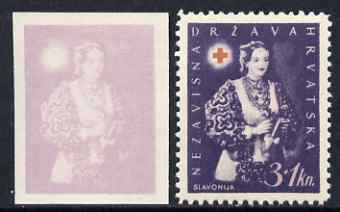 Croatia 1942 Red Cross Fund imperf proof of 3k + 1k in violet only (on ungummed paper) plus perforated issued stamp