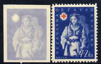 Croatia 1942 Red Cross Fund imperf proof of 4k + 2k in pale blue only (on ungummed paper) plus perforated issued stamp