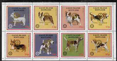 Calve Island 1998 Rotary Int opt in gold on 1984 Rotary - Dogs perf set of 8 values (10p to 50p) unmounted mint