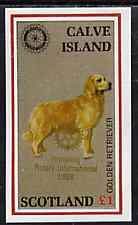 Calve Island 1998 Rotary Int opt in gold on 1984 Rotary - Dogs imperf souvenir sheet (�1 value) unmounted mint