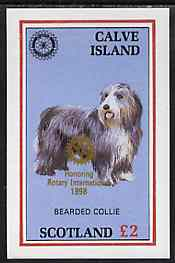 Calve Island 1998 Rotary Int opt in gold on 1984 Rotary - Bearded Collie imperf deluxe sheet (�2 value) unmounted mint
