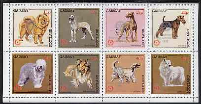 Gairsay 1998 Rotary Int opt in silver on 1984 Rotary -Dogs perf set of 8 values (11p to 44p) unmounted mint