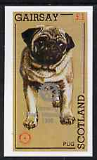 Gairsay 1998 Rotary Int opt in silver on 1984 Rotary - Dogs (Pug) imperf souvenir sheet (�1 value) unmounted mint