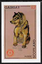 Gairsay 1998 Rotary Int opt in silver on 1984 Rotary - Dogs (Huskie) imperf deluxe sheet (�2 value) unmounted mint