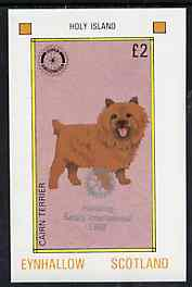 Eynhallow 1998 Rotary Int opt in silver on 1984 Rotary - Dogs �2 imperf deluxe sheet (Cairn Terrier) unmounted mint