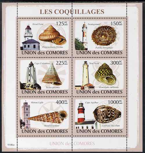 Comoro Islands 2009 Lighthouses & Shells perf sheetlet containing 6 values unmounted mint