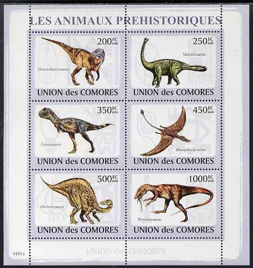 Comoro Islands 2009 Dinosaurs perf sheetlet containing 6 values unmounted mint