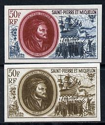 St Pierre & Miquelon 1970 Celebrities 50f Jacques Cartier & Grande Hermine two different IMPERF colour trial proofs unmounted mint (SG 489)
