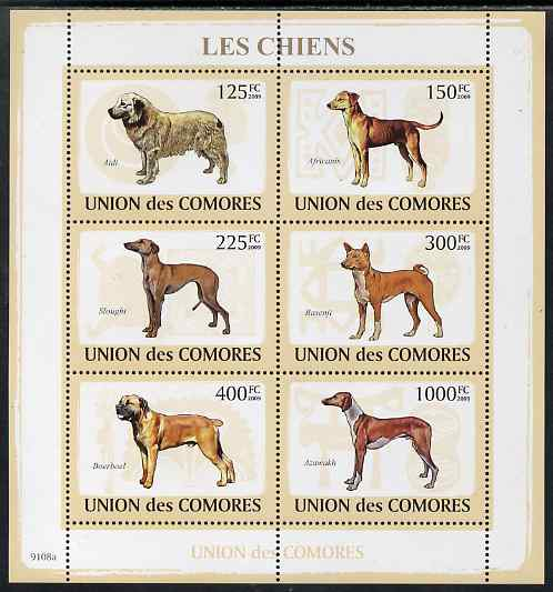 Comoro Islands 2009 Dogs perf sheetlet containing 6 values unmounted mint