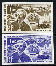 St Pierre & Miquelon 1972 Revaluation 1f60 Montcalm & Warships two different IMPERF colour trial proofs unmounted mint (SG 513)