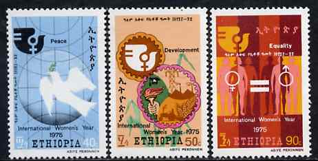 Ethiopia 1975 International Women's Year set of 3 unmounted mint, SG 931-33*