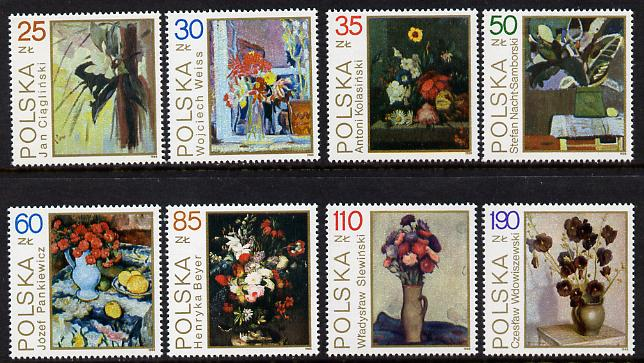 Poland 1989 Flower Paintings set of 8 unmounted mint (SG 3259-66)