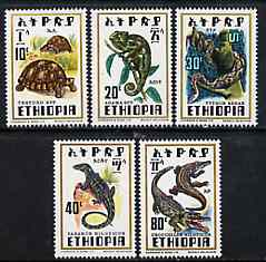 Ethiopia 1976 Reptiles set of 5 unmounted mint, SG 1007-11*, stamps on reptiles    snakes    chameleons     tortoise     lizards     crocodile, stamps on snake, stamps on snakes, stamps on