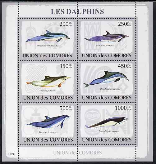 Comoro Islands 2009 Dolphins perf sheetlet containing 6 values unmounted mint