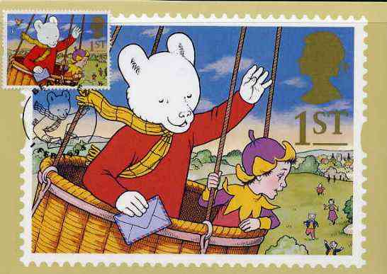 Great Britain 1994 Rupert Bear in Balloon maximum card with appropriate stamp tied by special Rupert 'Bearsden' first day cancel