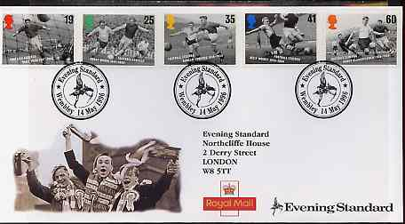 Great Britain 1996 European Football Championship set of 5 on illustrated cover with special Evening Standard 'Wembley' first day cancel, stamps on football, stamps on sport