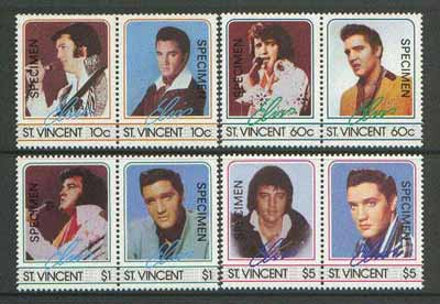 St Vincent 1985 Elvis Presley set of 8 opt'd SPECIMEN unmounted mint as SG 919-26
