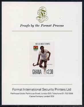 Ghana 1984 Field-Hockey 2c30 (ex Los Angeles Olympic Games set) imperf proof mounted on Format International proof card, as SG 1106