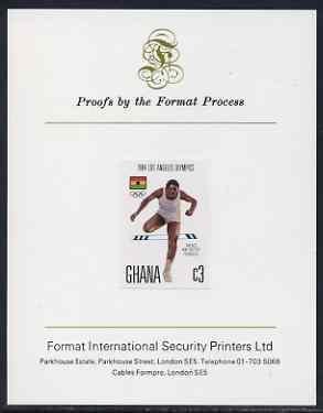 Ghana 1984 Hurdles 3c (ex Los Angeles Olympic Games set) imperf proof mounted on Format International proof card, as SG 1107