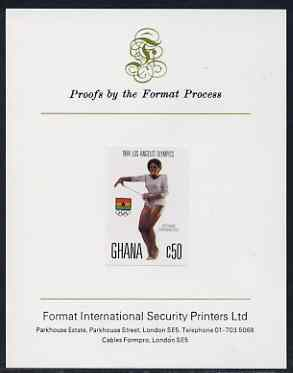 Ghana 1984 Gymnastics 50c (ex Los Angeles Olympic Games set) imperf proof mounted on Format International proof card, as SG 1107