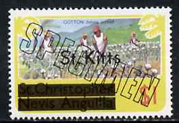 St Kitts 1980 Cotton Picking $1 from opt'd def set, additionally opt'd SPECIMEN, as SG 39A unmounted mint