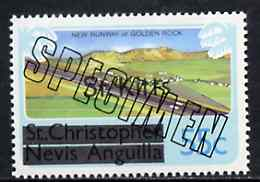 St Kitts 1980 New Runway for Golden Rock Airport 55c from opt'd def set, additionally opt'd SPECIMEN, as SG 38A unmounted mint