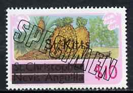 St Kitts 1980 Pineaples & Peanuts $10 from opt'd def set, additionally opt'd SPECIMEN unmounted mint, as SG 41A