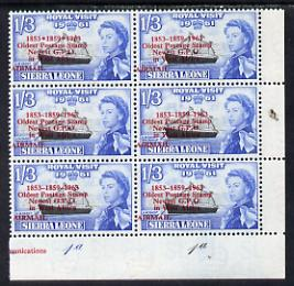 Sierra Leone 1963 Postal Commemoration 1s3d (HM Yacht Britannia) plate block of 6, one stamp with 'asterisks' variety, unmounted mint, SG 280b