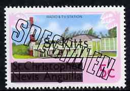 St Kitts 1980 Radio & TV Station 5c from opt'd def set, additionally opt'd SPECIMEN, as SG 29A unmounted mint