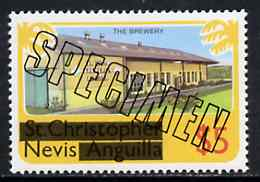 Nevis 1980 Brewery $5 from opt'd def set, additionally opt'd SPECIMEN, as SG 48 unmounted mint