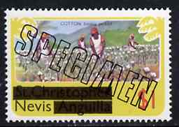 Nevis 1980 Cotton Picking $1 from opt'd def set, additionally opt'd SPECIMEN unmounted mint, as SG 47