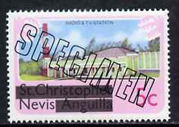 Nevis 1980 Radio & TV Station 5c from opt'd def set, additionally opt'd SPECIMEN unmounted mint, as SG 37